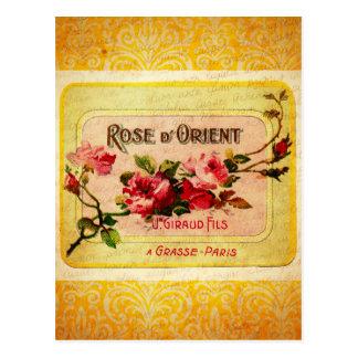 Etiqueta francesa del perfume del vintage postal