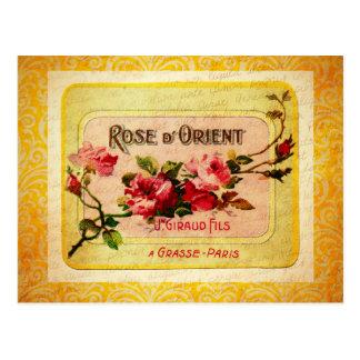 Etiqueta francesa del perfume del vintage tarjetas postales