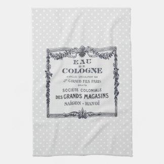 Etiqueta francesa del perfume del vintage toallas de cocina