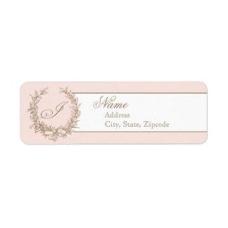 Etiqueta francesa del remite del vintage rosado etiquetas de remite