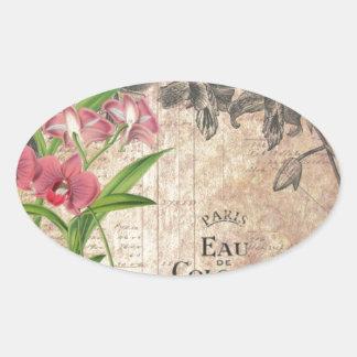 Etiqueta francesa floral del perfume del vintage