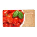 Etiqueta fresca de la cocina de los tomates etiquetas de envío