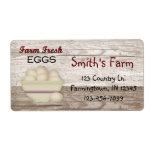 Etiqueta fresca de los huevos de la granja etiqueta de envío