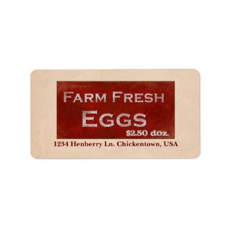 Etiqueta fresca de los huevos de la granja etiquetas de dirección