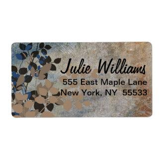 Etiqueta frondosa beige y azul etiqueta de envío