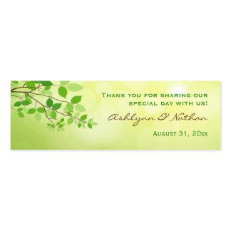Etiqueta frondosa del favor del boda de la rama tarjetas de visita mini