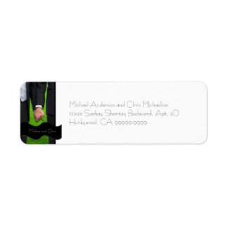 Etiqueta gay de encargo del remite del boda de dos etiquetas de remite