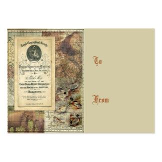 Etiqueta geográfica real del regalo del collage de tarjetas de visita grandes