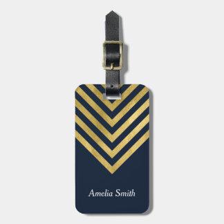 Etiqueta geométrica elegante del equipaje del oro etiquetas de maletas