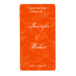 Etiqueta gráfica color de rosa anaranjada del vino etiquetas de envío
