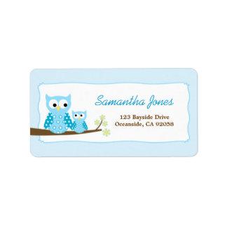 Etiqueta grande azul del remite de los búhos de pi etiquetas de dirección