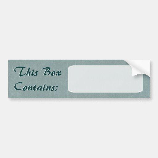 Etiqueta grande de la caja pegatina para auto