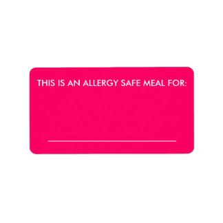 Etiqueta grande de la identificación de la comida etiqueta de dirección