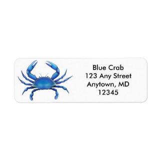 Etiqueta grande del cangrejo azul etiquetas de remite