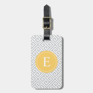 Etiqueta griega amarilla y gris del equipaje de la