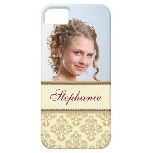 Etiqueta gris del marrón del oro del damasco de la iPhone 5 Case-Mate cárcasas