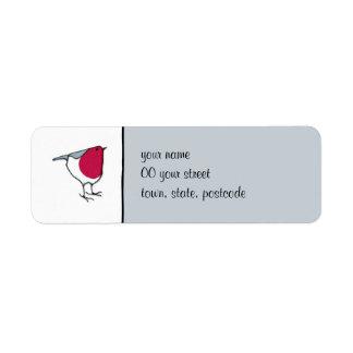 Etiqueta gris del remite del pequeño petirrojo etiquetas de remite