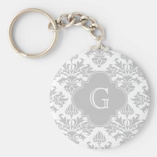 Etiqueta gris floral del monograma del damasco #3 llavero redondo tipo pin
