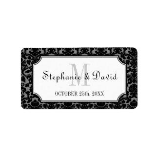 Etiqueta gris negra del favor del boda del marco d etiquetas de dirección
