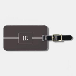 Etiqueta gris oscuro elegante simple del equipaje