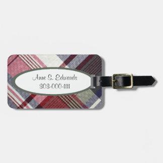 Etiqueta gris roja del equipaje de la tela escoces etiquetas maleta