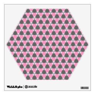 Etiqueta gris y rosada de la pared del