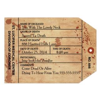 Etiqueta Halloween del dedo del pie del forense o Comunicado Personalizado