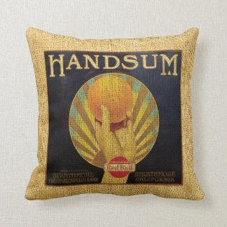Etiqueta Handsum y Tom largo de la fruta del vinta Cojín