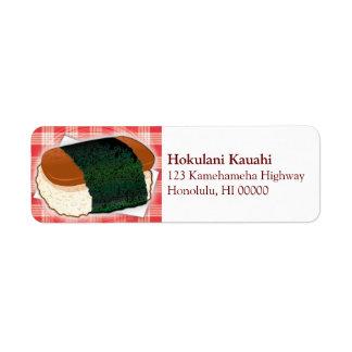 Etiqueta hawaiana de Musubi Etiqueta De Remite