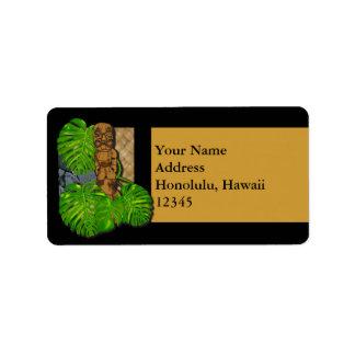 Etiqueta hawaiana de Tiki Lauhala Etiquetas De Dirección