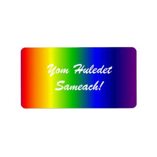 Etiqueta hebrea de los colores del arco iris del etiqueta de dirección