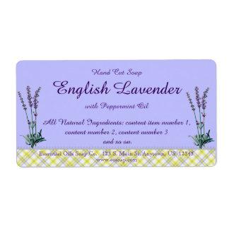 Etiqueta hecha a mano del jabón de la lavanda y de etiquetas de envío