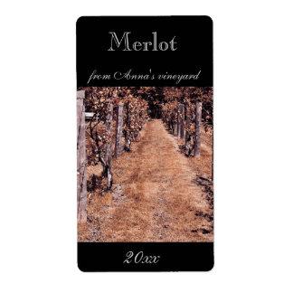 Etiqueta hecha casera de la botella de vino del vi etiquetas de envío