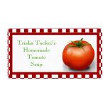 Etiqueta hecha en casa de la sopa del tomate etiquetas de envío