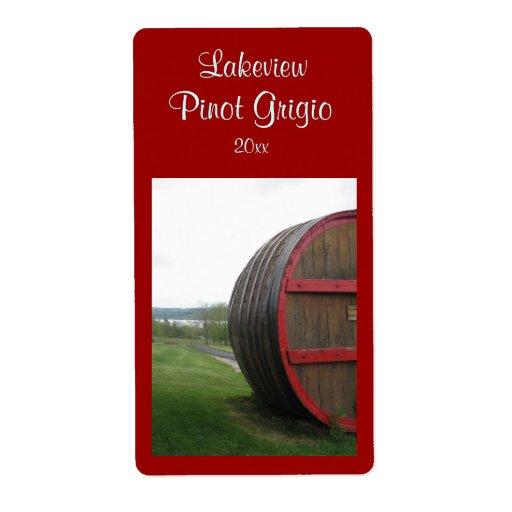 Etiqueta hecha en casa del vino del barril de vino etiquetas de envío