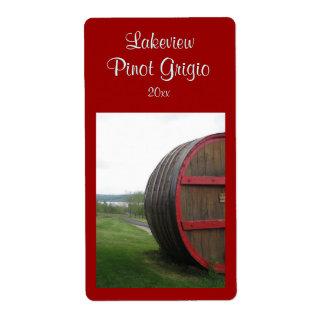 Etiqueta hecha en casa del vino del barril de vino etiqueta de envío