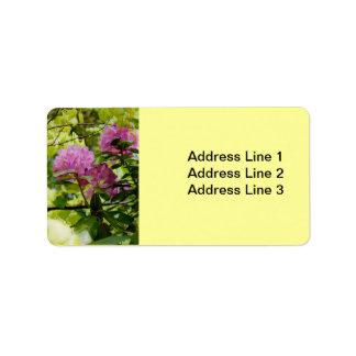 Etiqueta hermosa del rododendro etiqueta de dirección