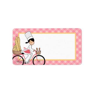 Etiqueta ilustrada de la bicicleta del cocinero en etiquetas de dirección