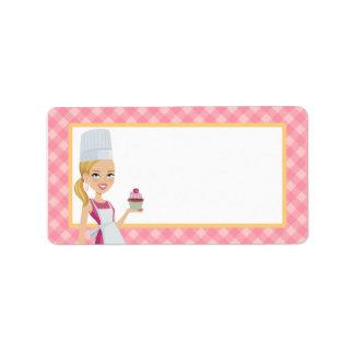 Etiqueta ilustrada del chica de la magdalena en etiquetas de dirección