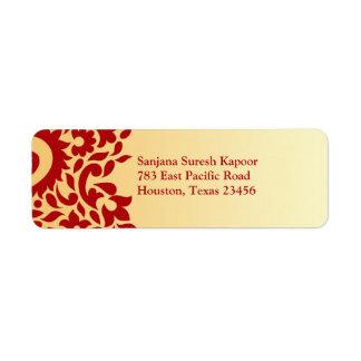 Etiqueta india elegante del remite de Paisleys Etiqueta De Remite