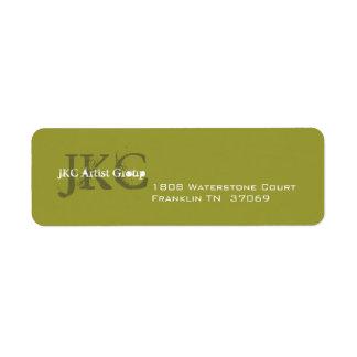 Etiqueta inicial del remite del negocio del verde  etiqueta de remitente
