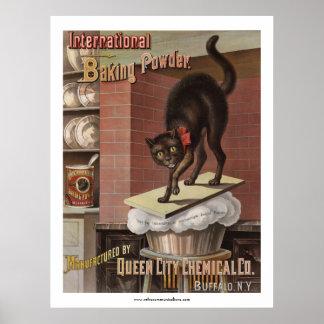 Etiqueta internacional de la levadura en polvo póster