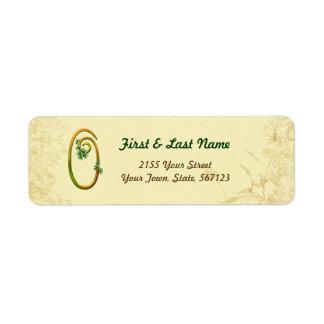 Etiqueta irlandesa del monograma 0 del oro etiqueta de remite