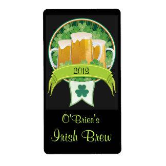 Etiqueta irlandesa Homebrewed de la cerveza Etiqueta De Envío