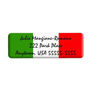 Etiqueta italiana clásica del remite de la bandera etiquetas de remite