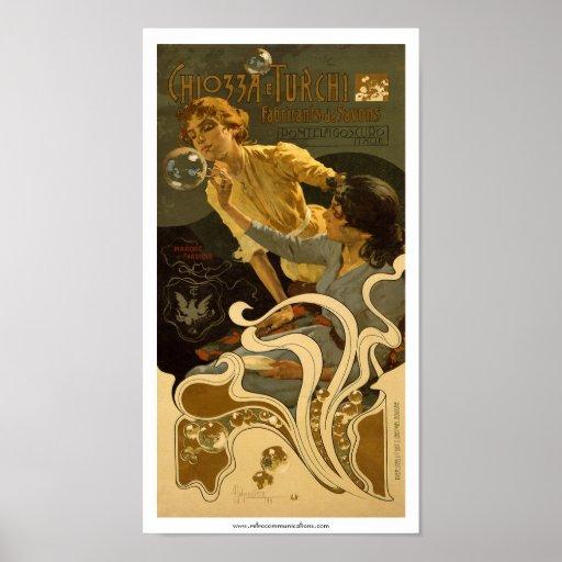 Etiqueta italiana del jabón de Chiozza e Turchi Poster