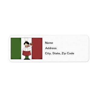 Etiqueta italiana del remite del cocinero #3 etiqueta de remitente