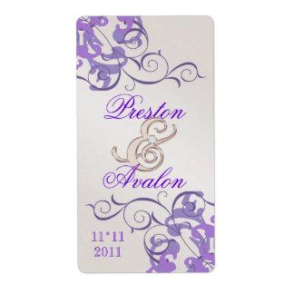 Etiqueta Jeweled Champán púrpura del vino del remo Etiqueta De Envío