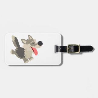 Etiqueta juguetona linda del equipaje del lobo del etiqueta de equipaje
