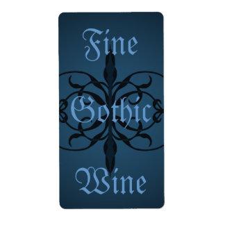 Etiqueta larga gótica azul de lujo de la botella a etiqueta de envío